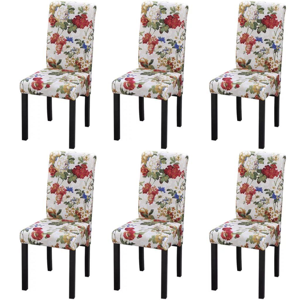 Lot De 6 Chaises Pour Salle A Manger Avec Motif Floral Bois