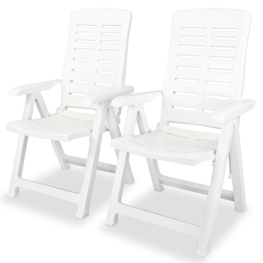 Chaise inclinable de jardin 2 pcs 60x61x108 cm plastique blanc for Chaise inclinable
