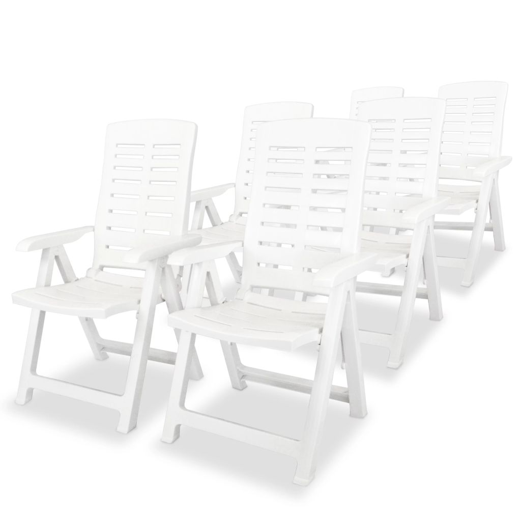 chaise inclinable de jardin 6 pcs 60x61x108 cm plastique blanc. Black Bedroom Furniture Sets. Home Design Ideas