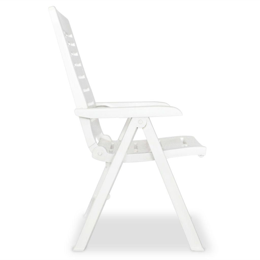 Chaise inclinable de jardin 6 pcs 60x61x108 cm plastique blanc for Chaise inclinable