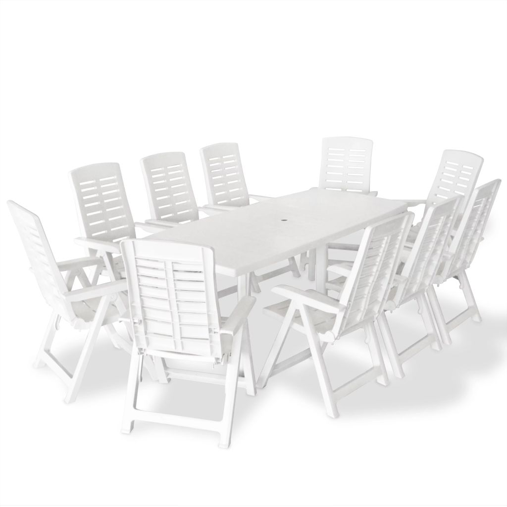 ensemble de table et chaises 10 personnes plastique blanc. Black Bedroom Furniture Sets. Home Design Ideas