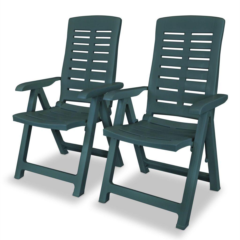 Chaise inclinable de jardin 2 pcs 60x61x108 cm plastique vert - Table de jardin plastique vert saint paul ...