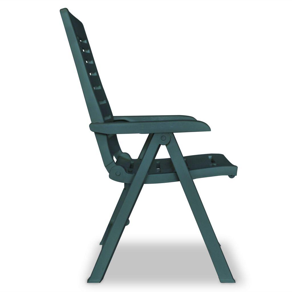 Chaise inclinable de jardin 2 pcs 60x61x108 cm plastique vert for Chaise longue jardin plastique vert