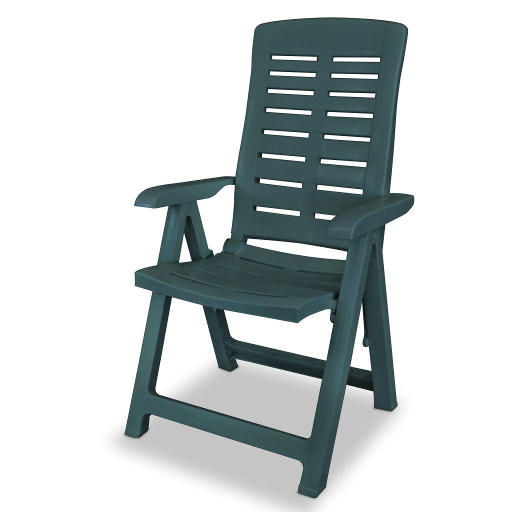 Chaise inclinable de jardin 4 pcs 60x61x108 cm plastique vert for Chaise inclinable