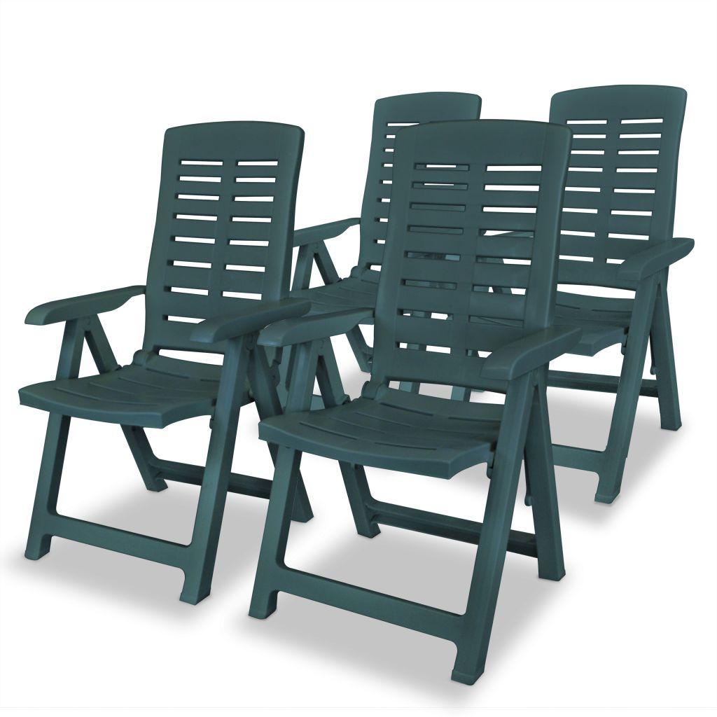 chaise inclinable de jardin 4 pcs 60x61x108 cm plastique vert. Black Bedroom Furniture Sets. Home Design Ideas
