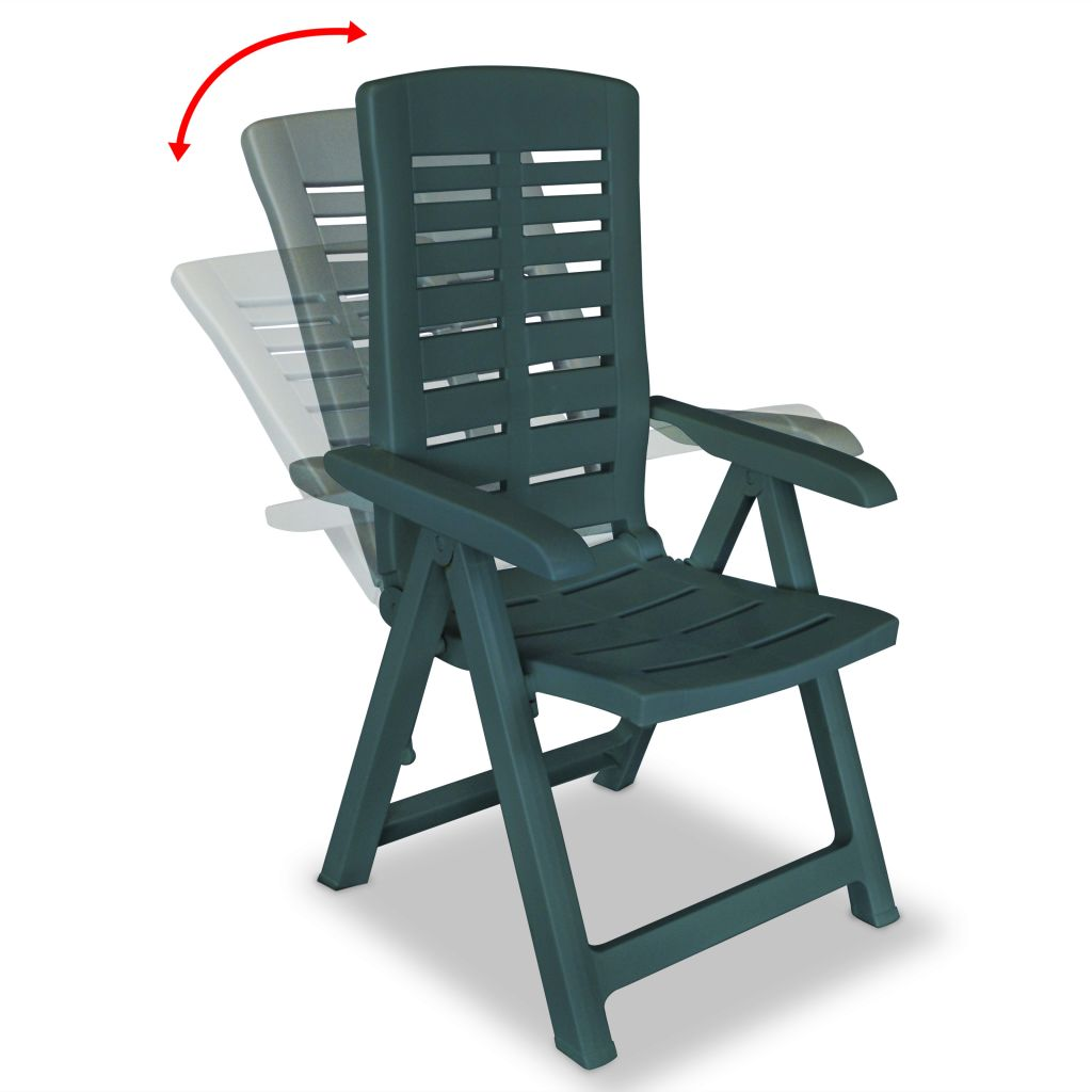 Chaise inclinable de jardin 6 pcs 60x61x108 cm plastique vert - Table de jardin plastique vert saint paul ...