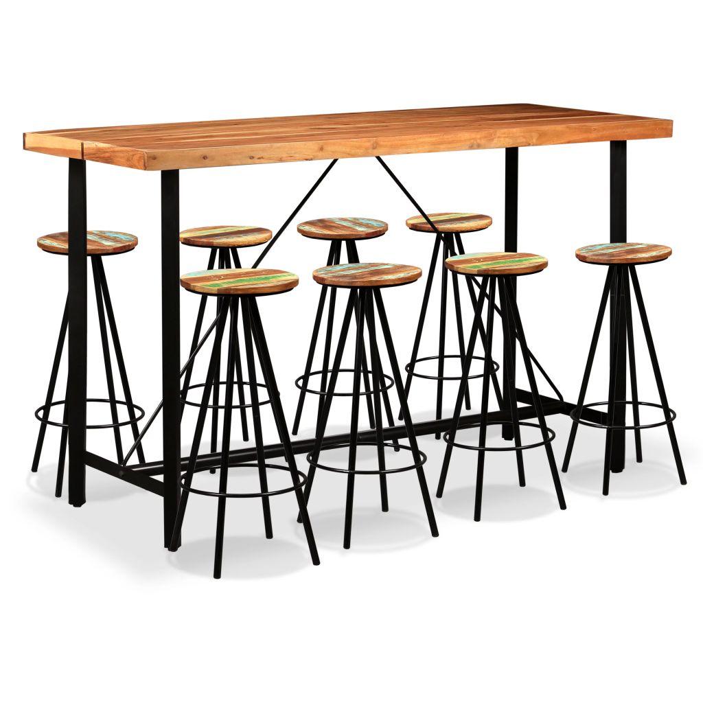 Table Haute 2 Personnes.Ensemble De Bar 8 Personnes Bois De Sesham Massif Et Recycle