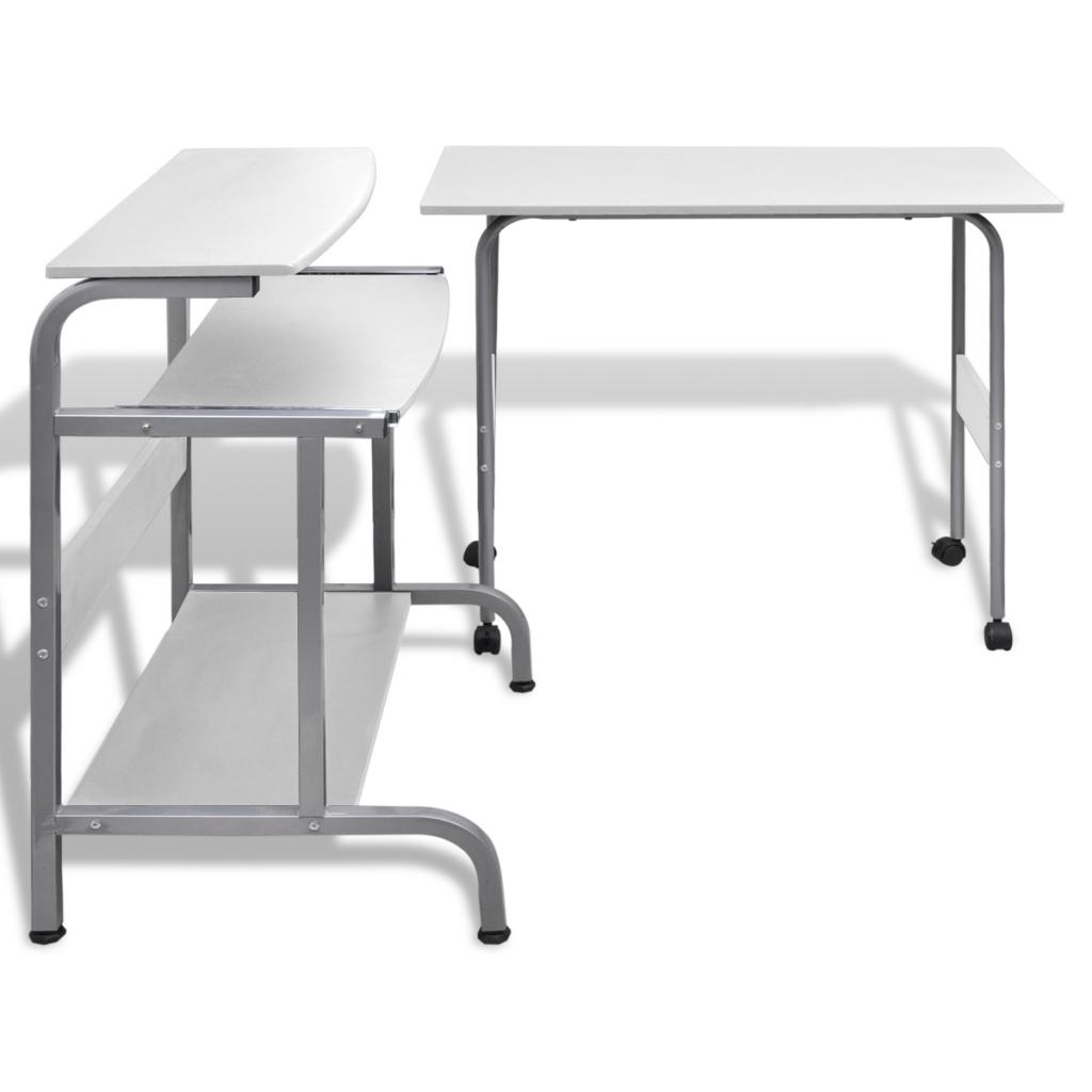 White Computer Desk Adjustable Workstation White Lovdock Com