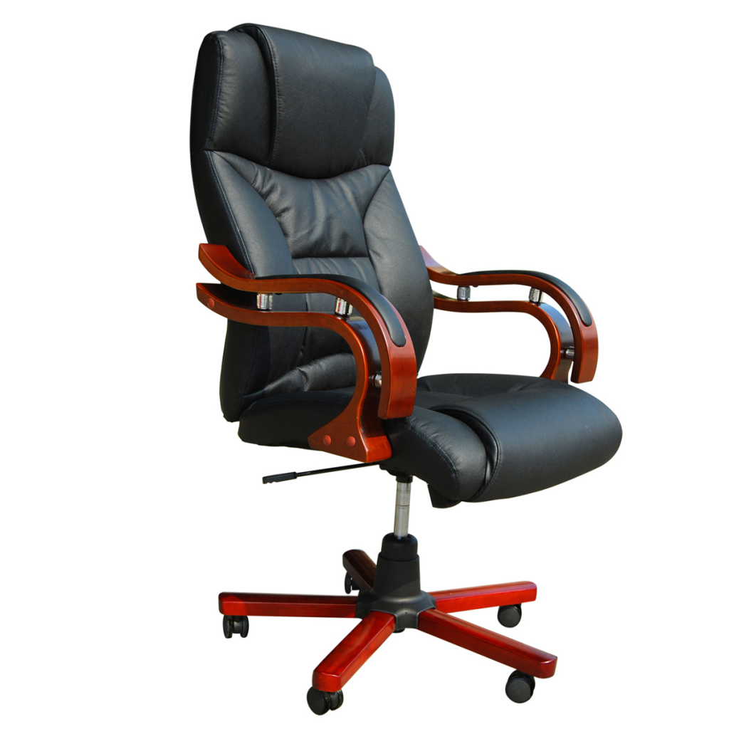 Black Real Leather Office Chair
