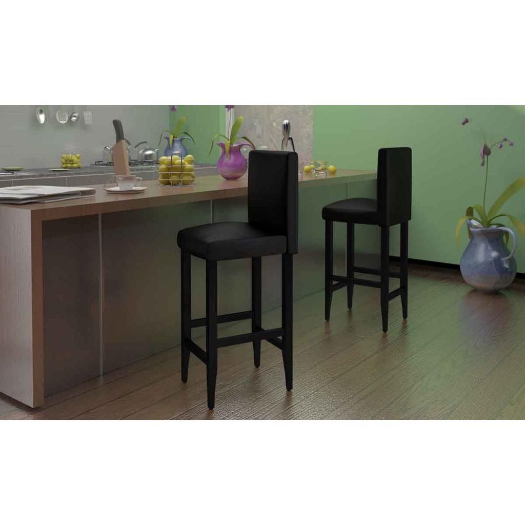 Black pair of bar stools kitchen sets from 2 bar black for Kitchen set bar