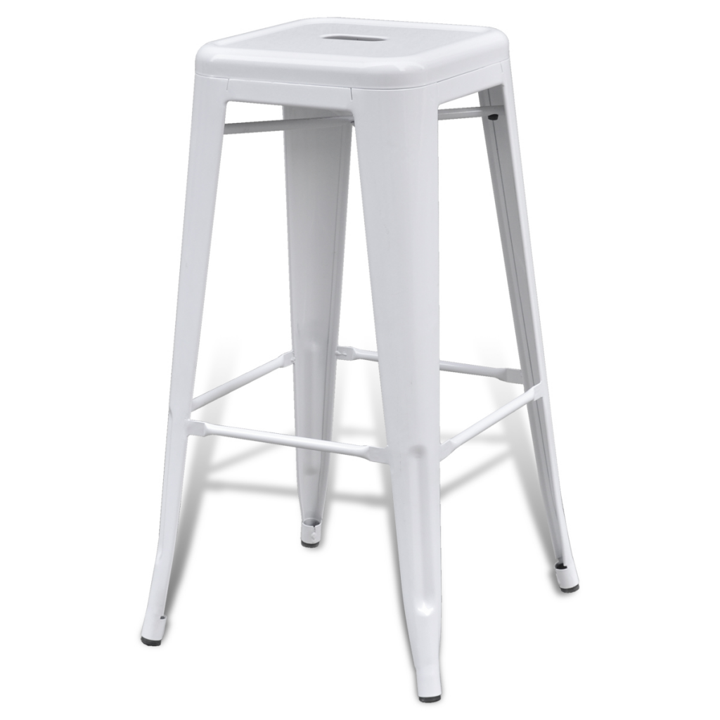 Bar Chair High Chairs Stools Square 2 Pcs White