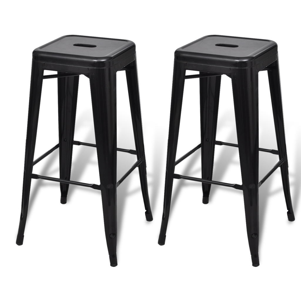 Awesome Bar Chair High Chair Bar Stool Square 2 Pcs Black