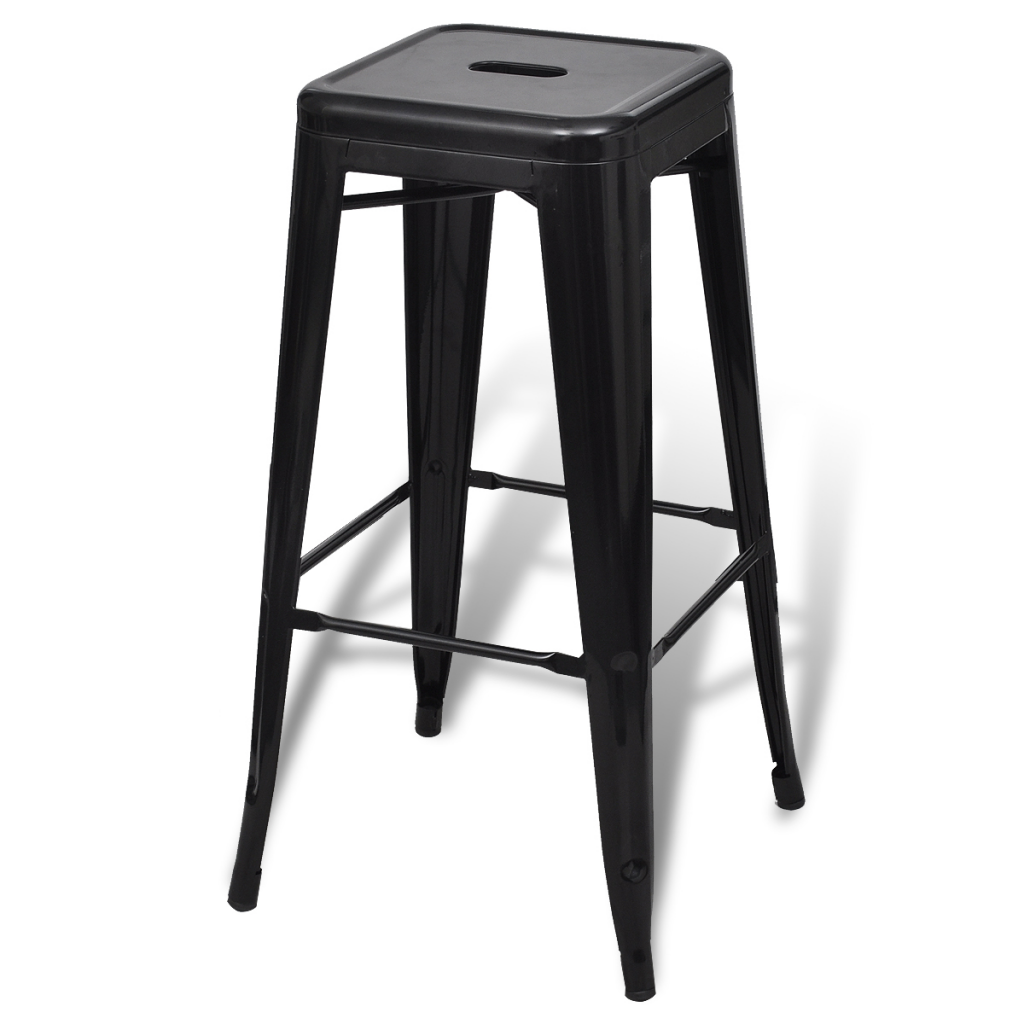 Bar Chair High Stool Square 2 Pcs Black