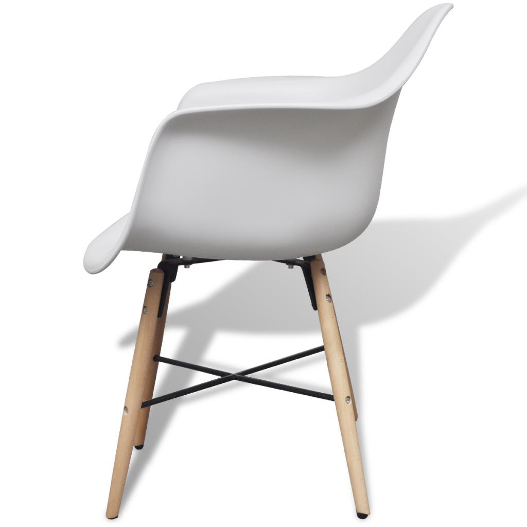 Only 2 blanc chaise avec accoudoirs et pieds en for Chaise 1er prix