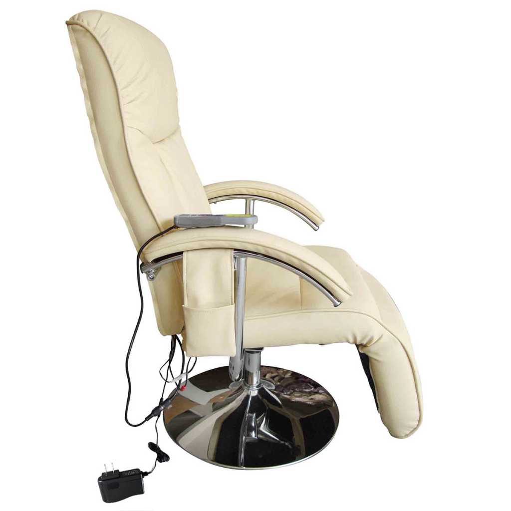 Cream White Electric TV Recliner Massage Chair