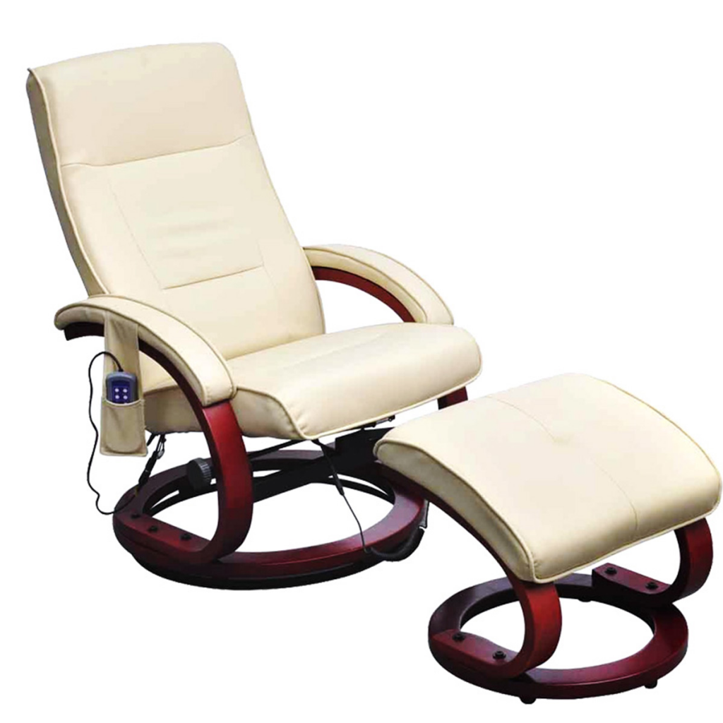 Cream White Electric TV Recliner Massage Chair With Footstool