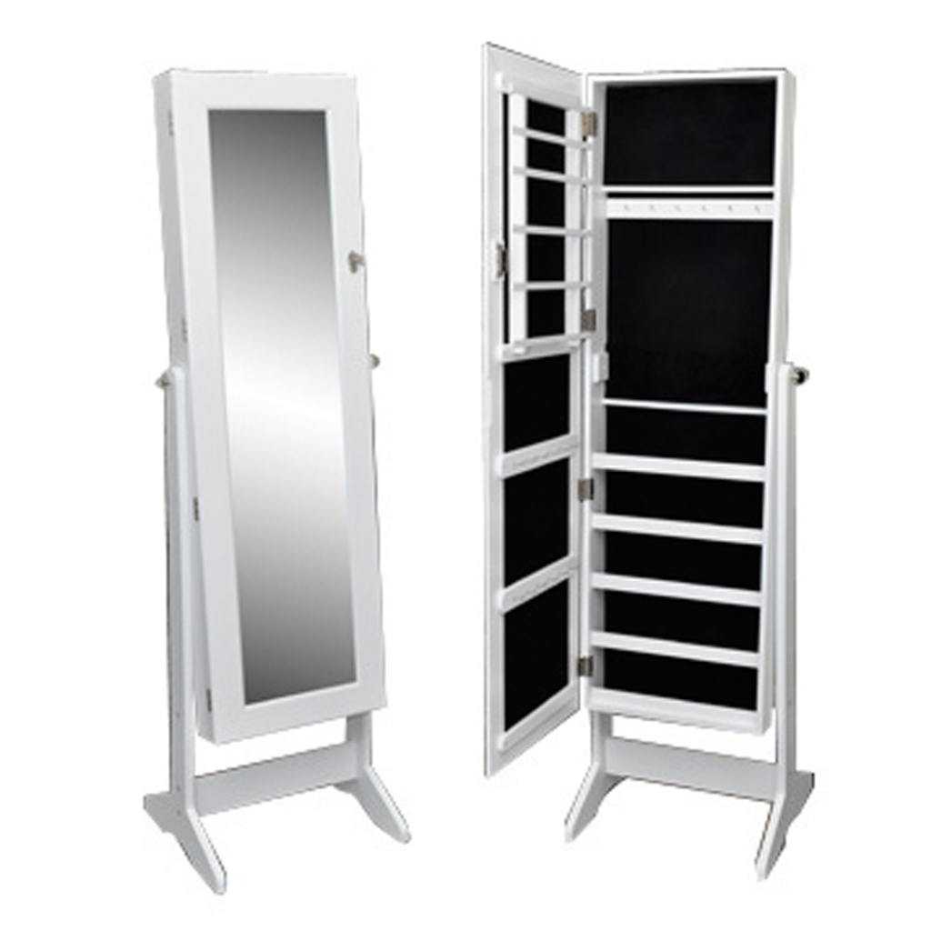 White Free Standing Jewelry Cabinet With Mirror