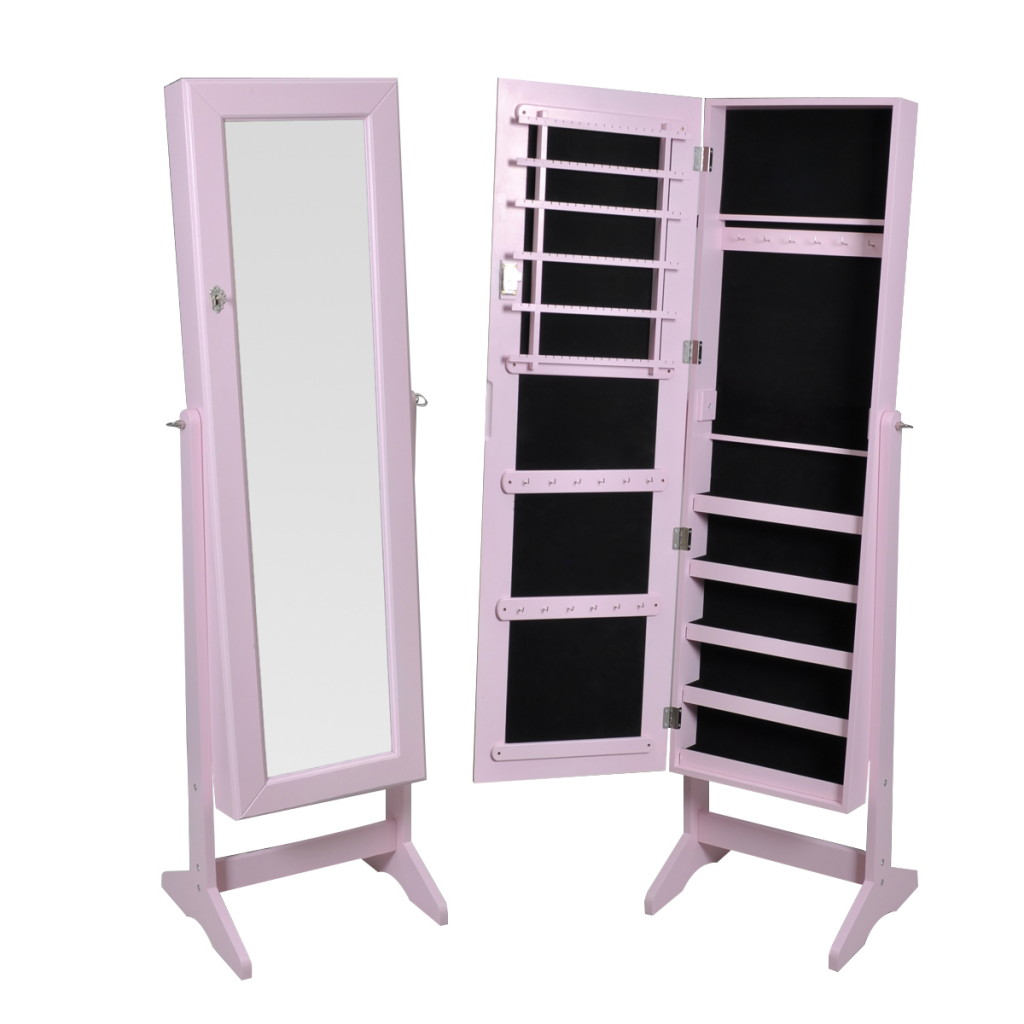 Bon Pink Free Standing Jewelry Cabinet With Mirror
