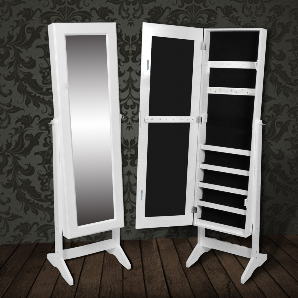 White Free Standing Mirror Jewelry Cabinet