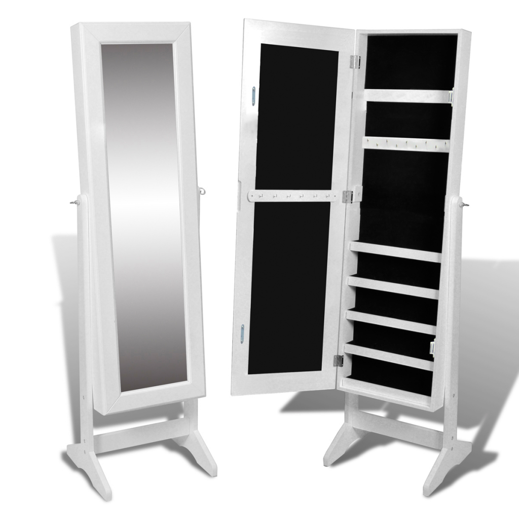 white white free standing mirror jewelry cabinet. Black Bedroom Furniture Sets. Home Design Ideas