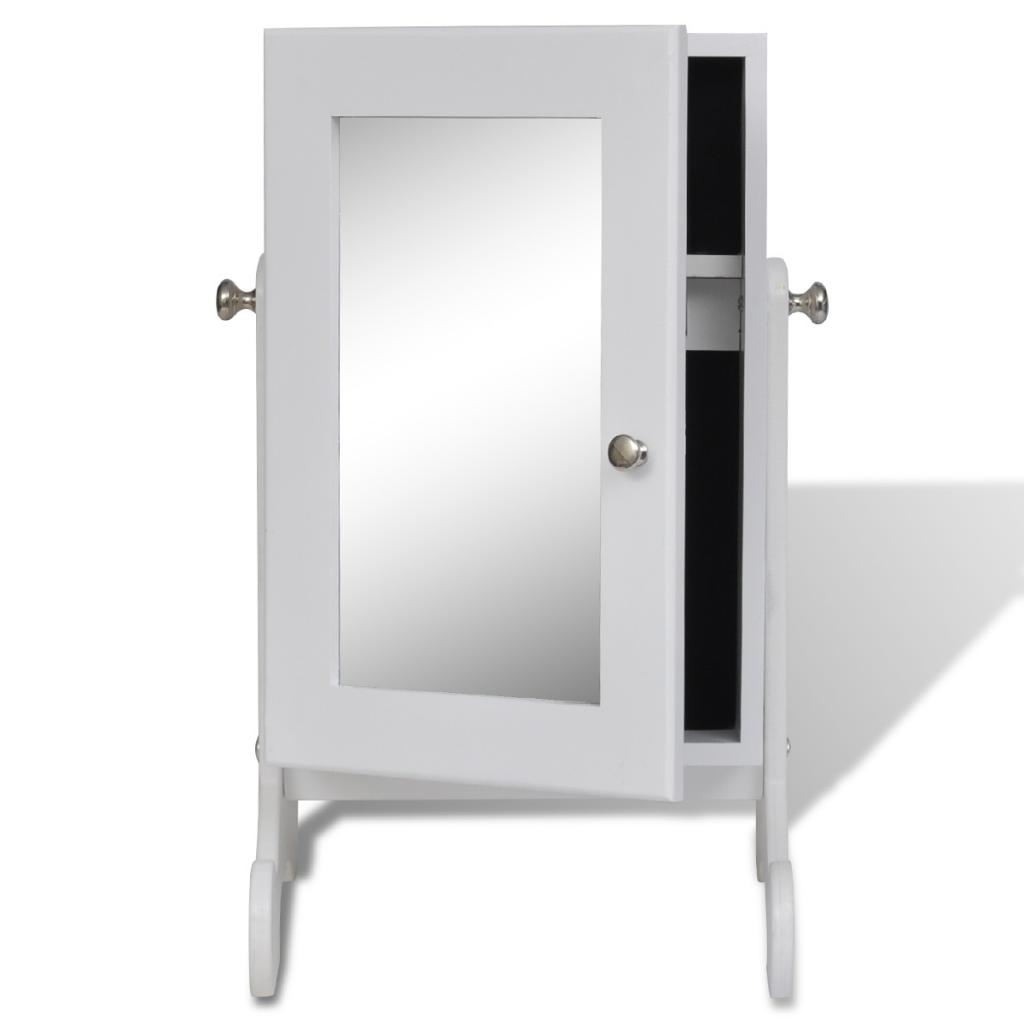 nur wei e tisch holz schmuck schrank mit spiegel. Black Bedroom Furniture Sets. Home Design Ideas