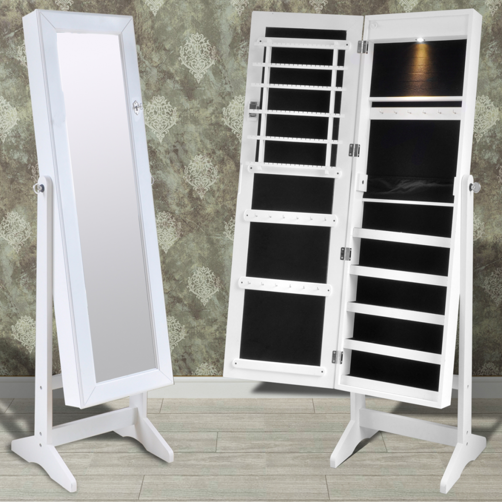 White Free Standing Jewelry Cabinet With LED Light And Mirror