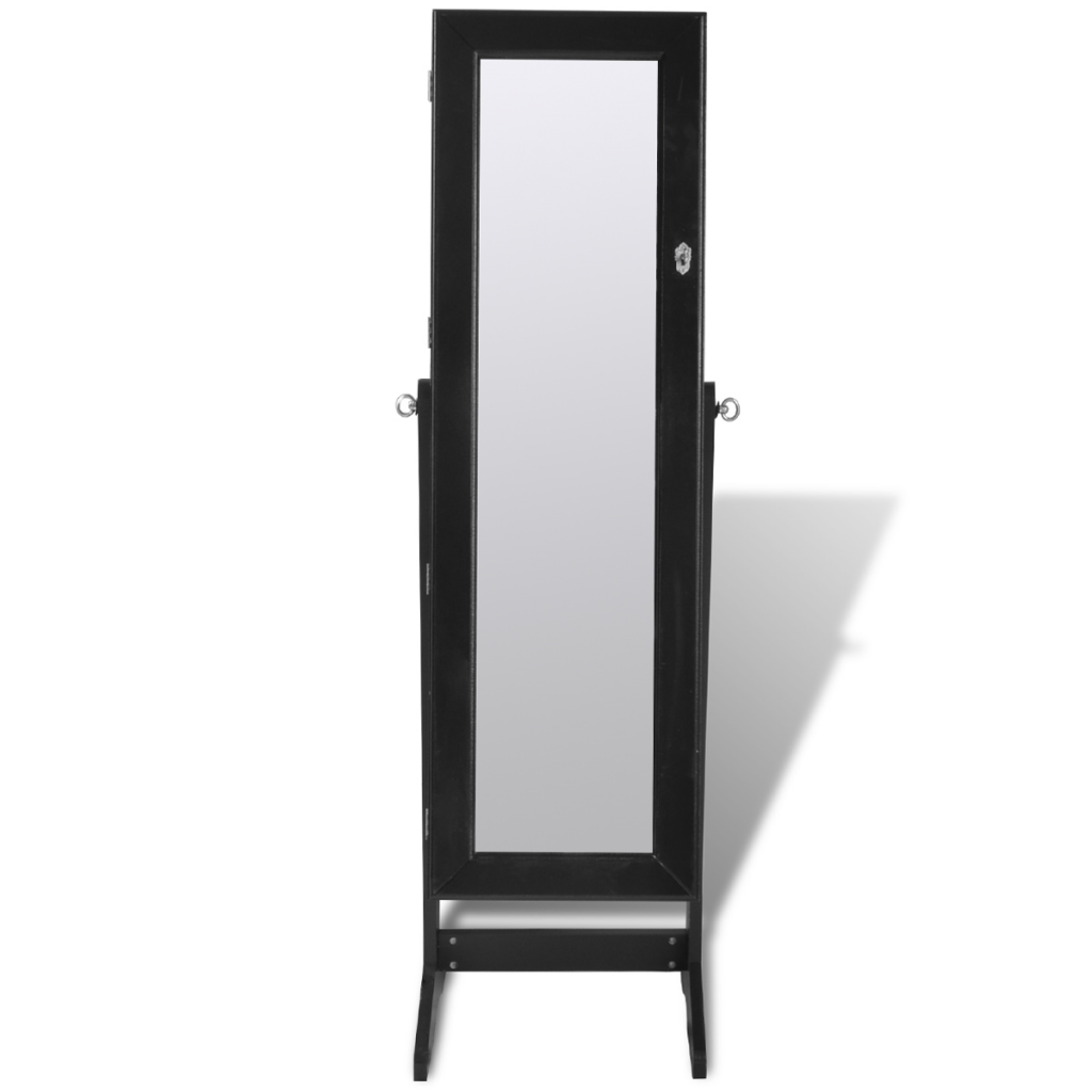 Black Free Standing Jewelry Cabinet With Led Light And Mirror