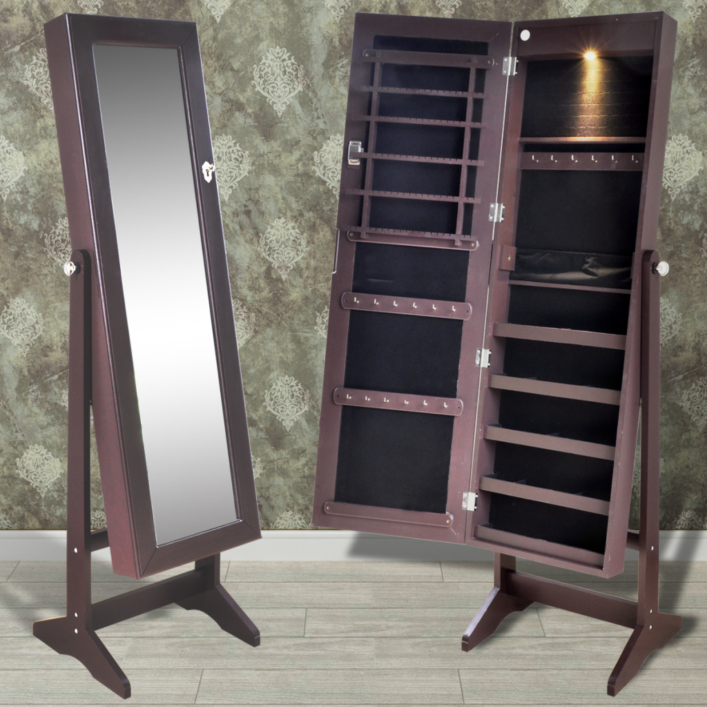 Brown Free Standing Jewelry Cabinet With LED Light And Mirror