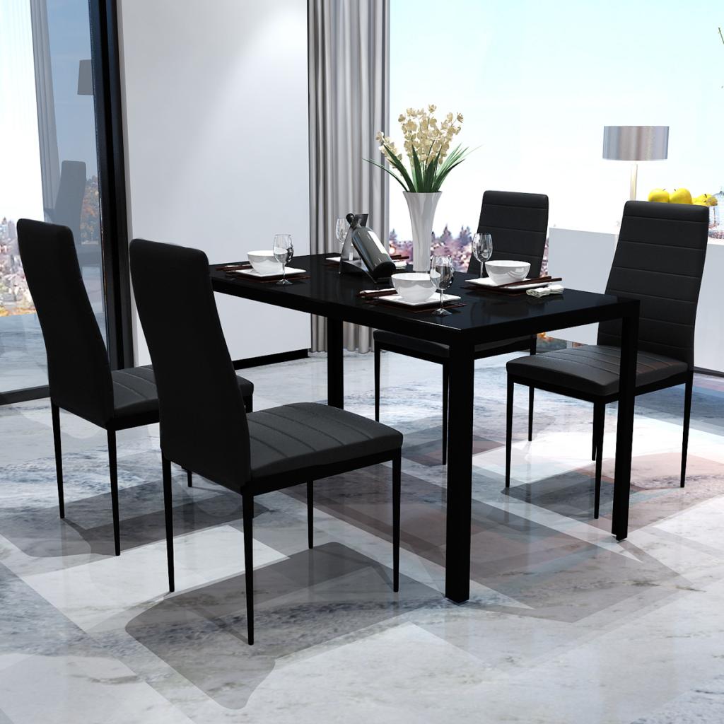 Nur 178.22€, Schwarz Esstisch Set mit 4 Stühle Contemporary Design ...
