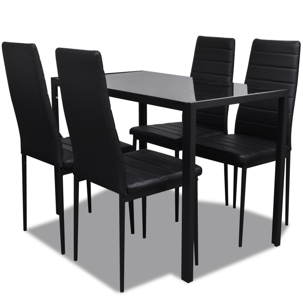Black black dining table set with 4 chairs contemporary for Black dining table set
