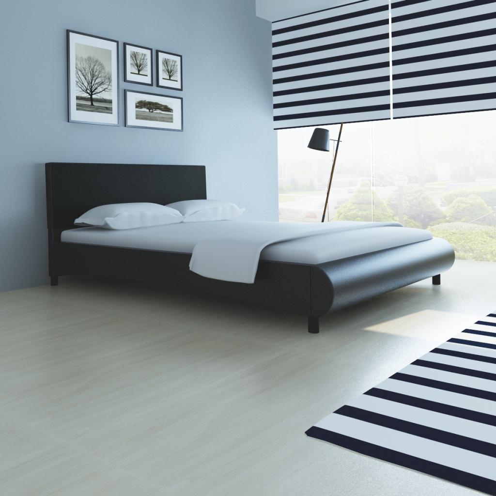 black Leather Bed Frame Curved Design Artificial 140 x 200 cm Black ...