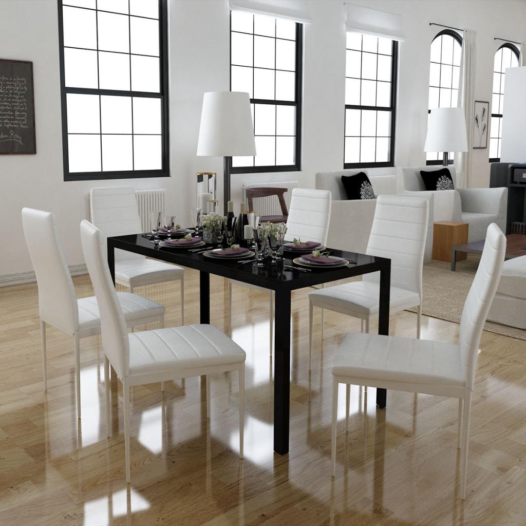 Solo 214.40€, Set di 6 sedie bianche + 1 tavolo design contemporaneo -  LovDock.com