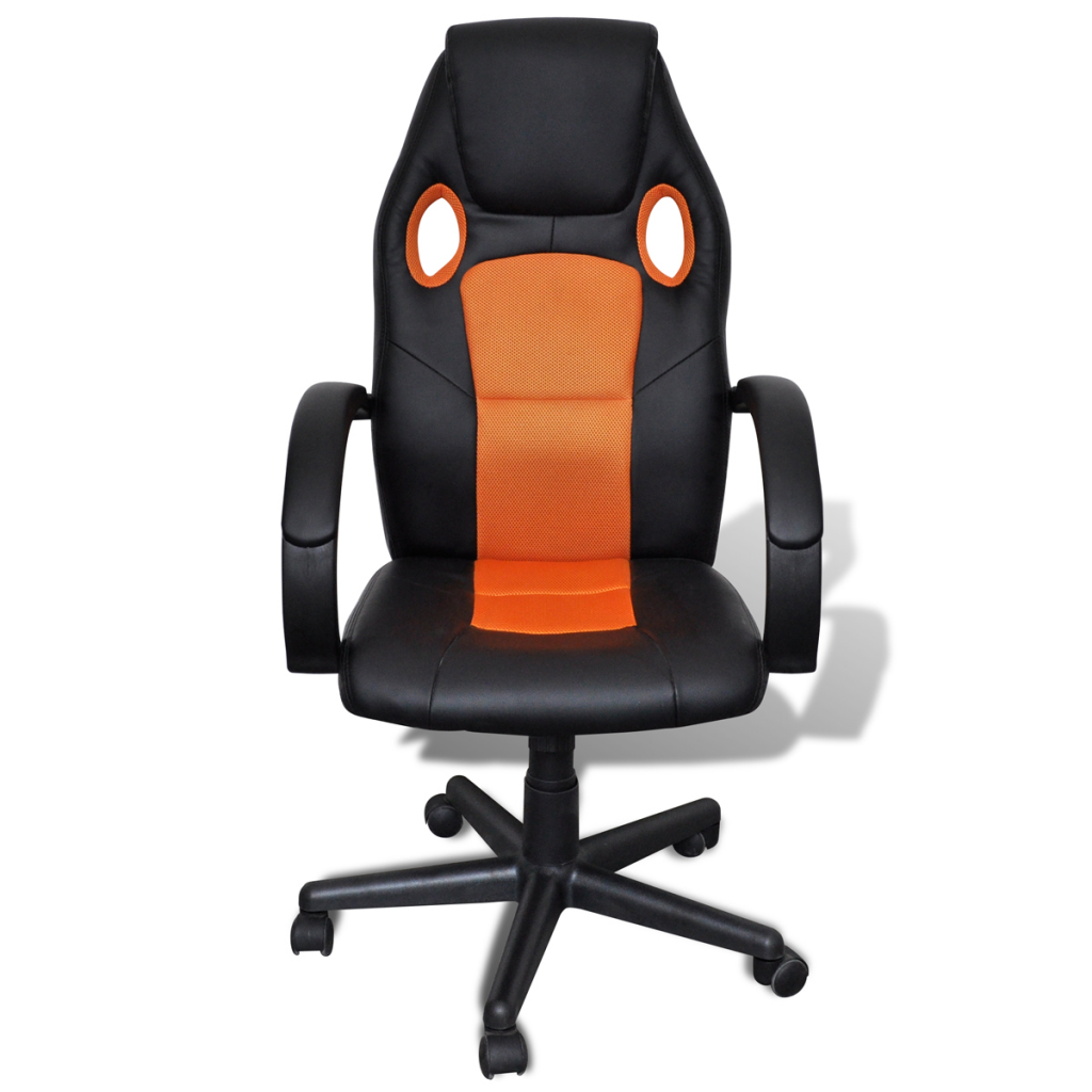 Orange artificial leather office chair height adjustable for Swivel chairs for office