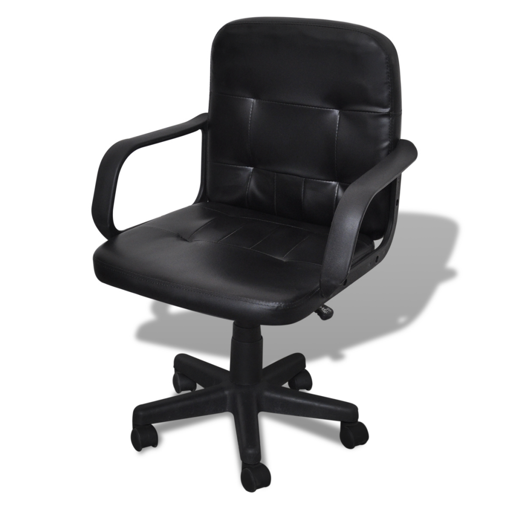 luxury leather office chair. Luxury Leather Office Chair Height Adjustable Swivel Black
