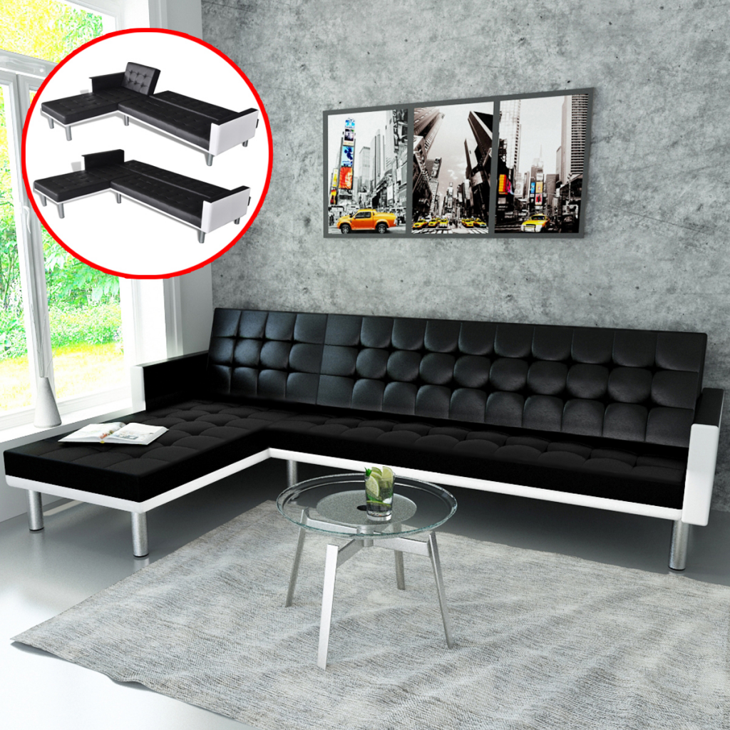 black white L-shaped Sofa Bed Adjustable Black + White - LovDock.com