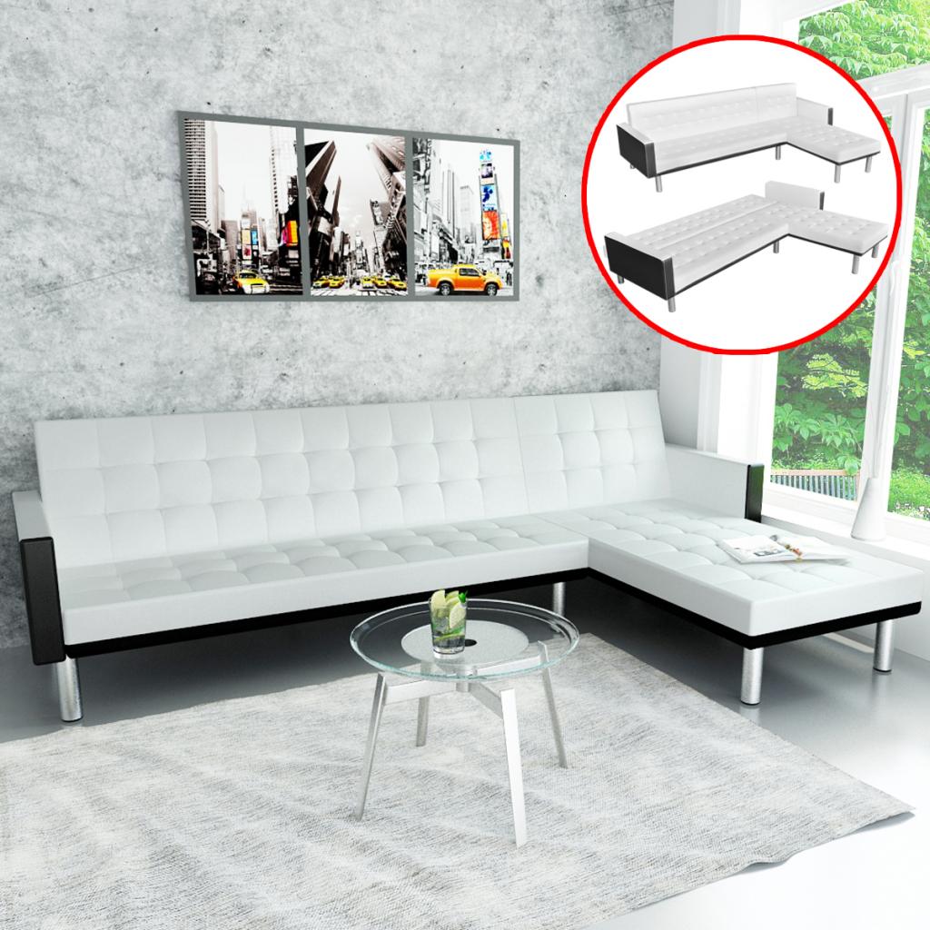 white L-shaped Sofa Bed Adjustable White + Black - LovDock.com