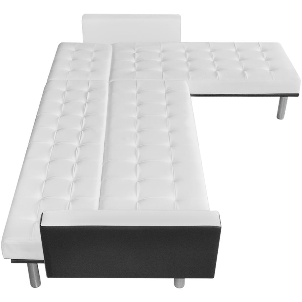 Sólo 317.43€, en forma de L sofá cama ajustable Blanco + Negro ...