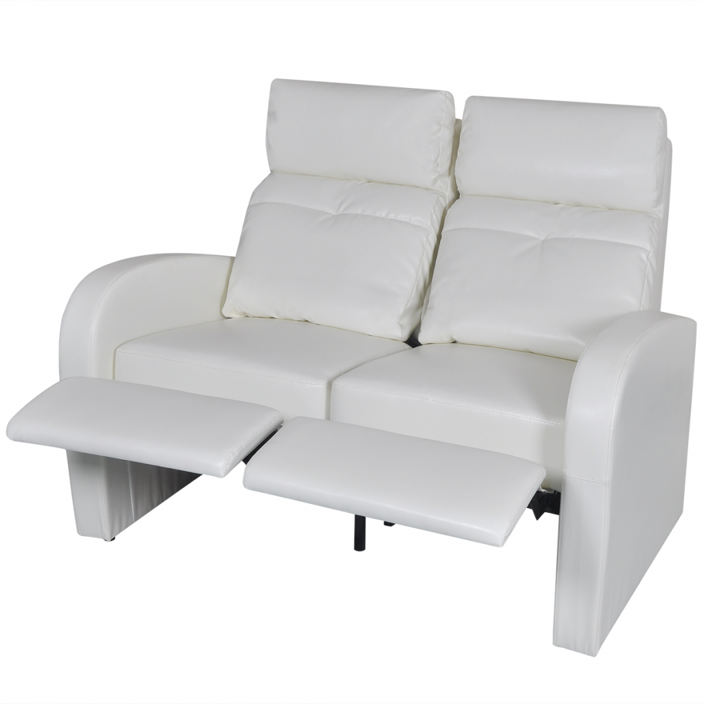 Artificial Leather Home Cinema Recliner Reclining Sofa 2 Seat White