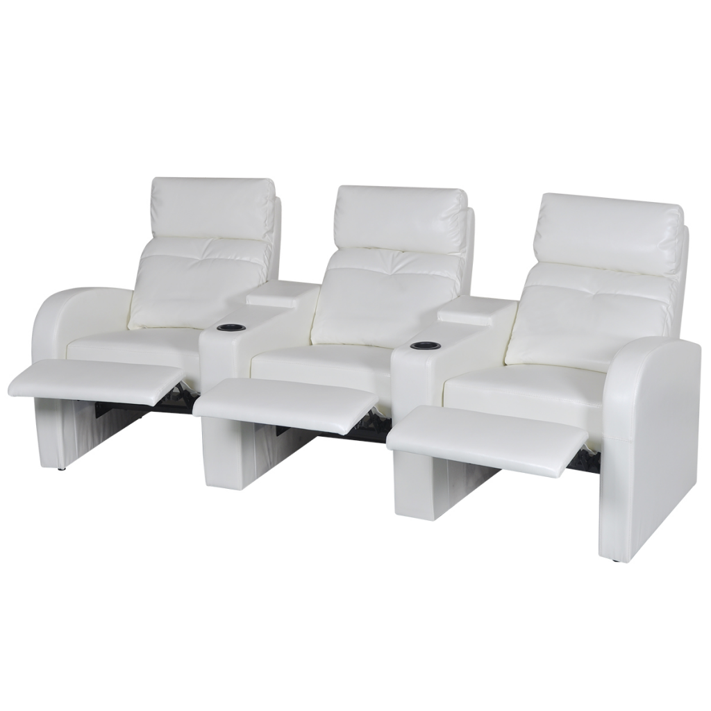 white Artificial Leather Home Cinema Recliner Reclining Sofa 3-seat ...