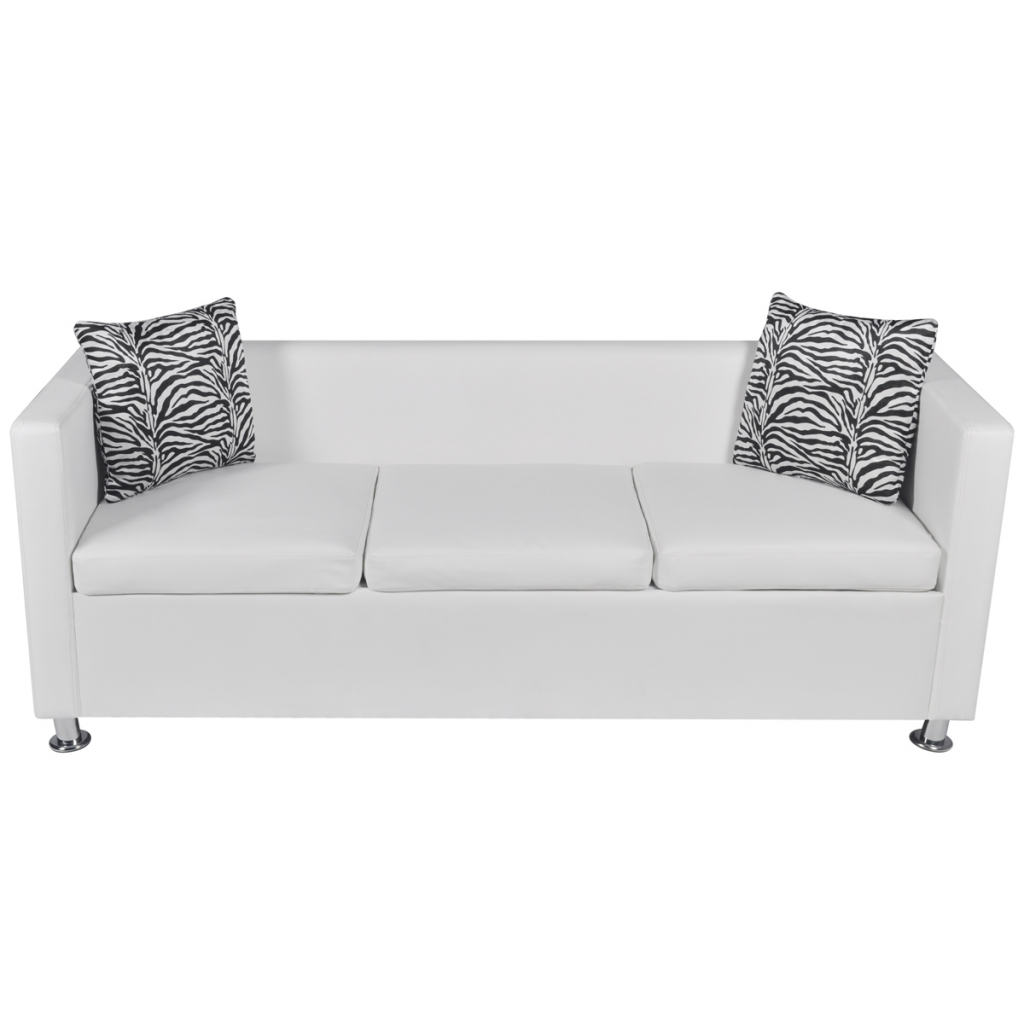 Artificial Leather 3 Seater Sofa White
