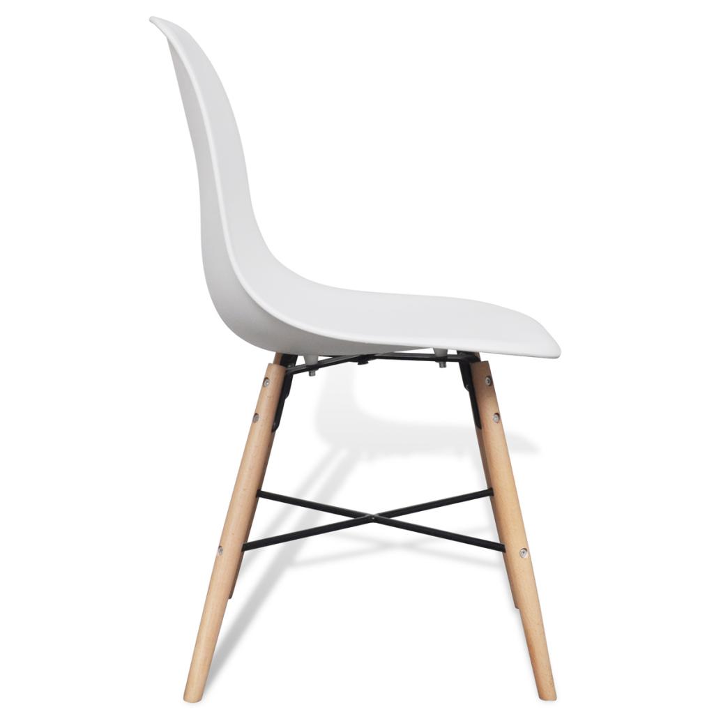 S lo 6 blanca sin brazos sillas de comedor con for Sillas comedor madera con brazos