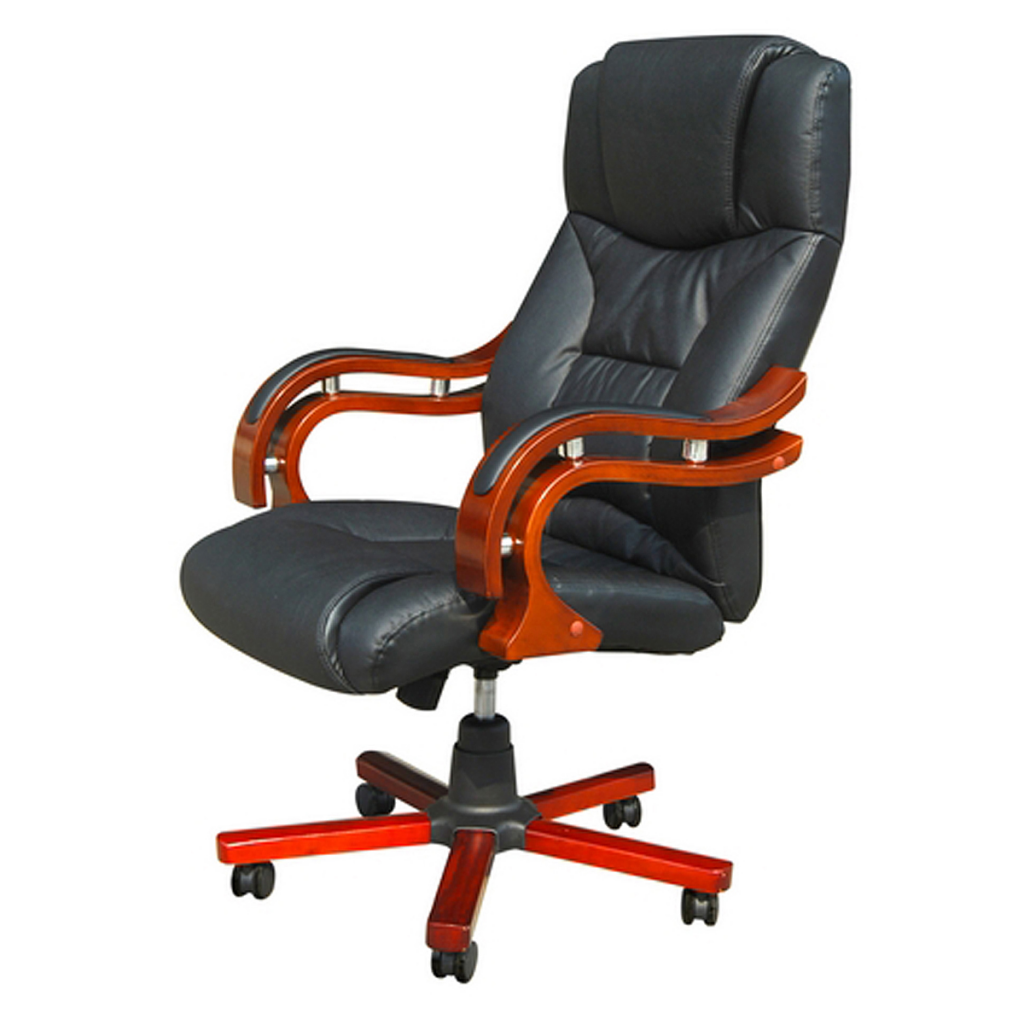 Chair Swivel Office Ve Wood And Leather Black