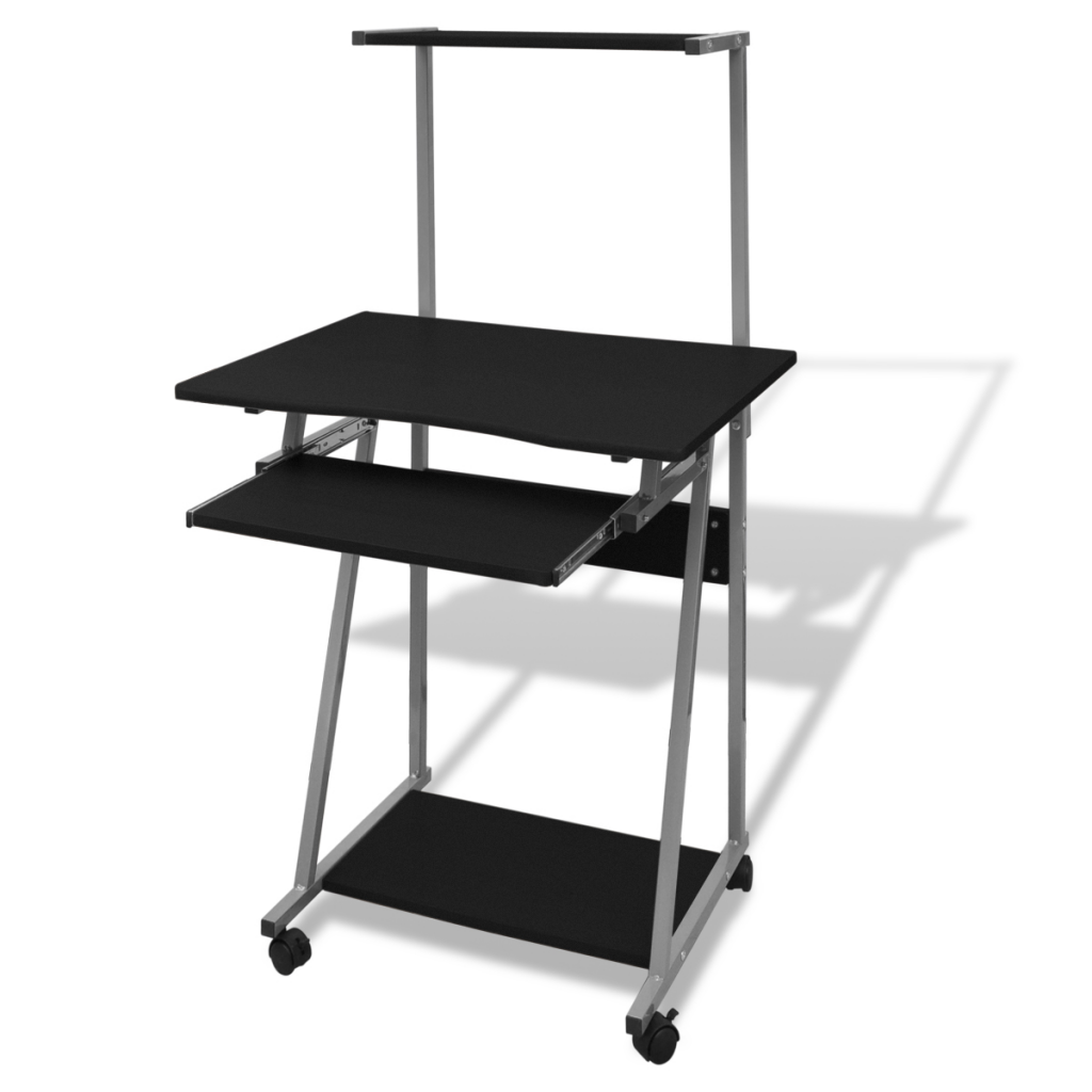 black computer desk with pull out keyboard tray black lovdock com