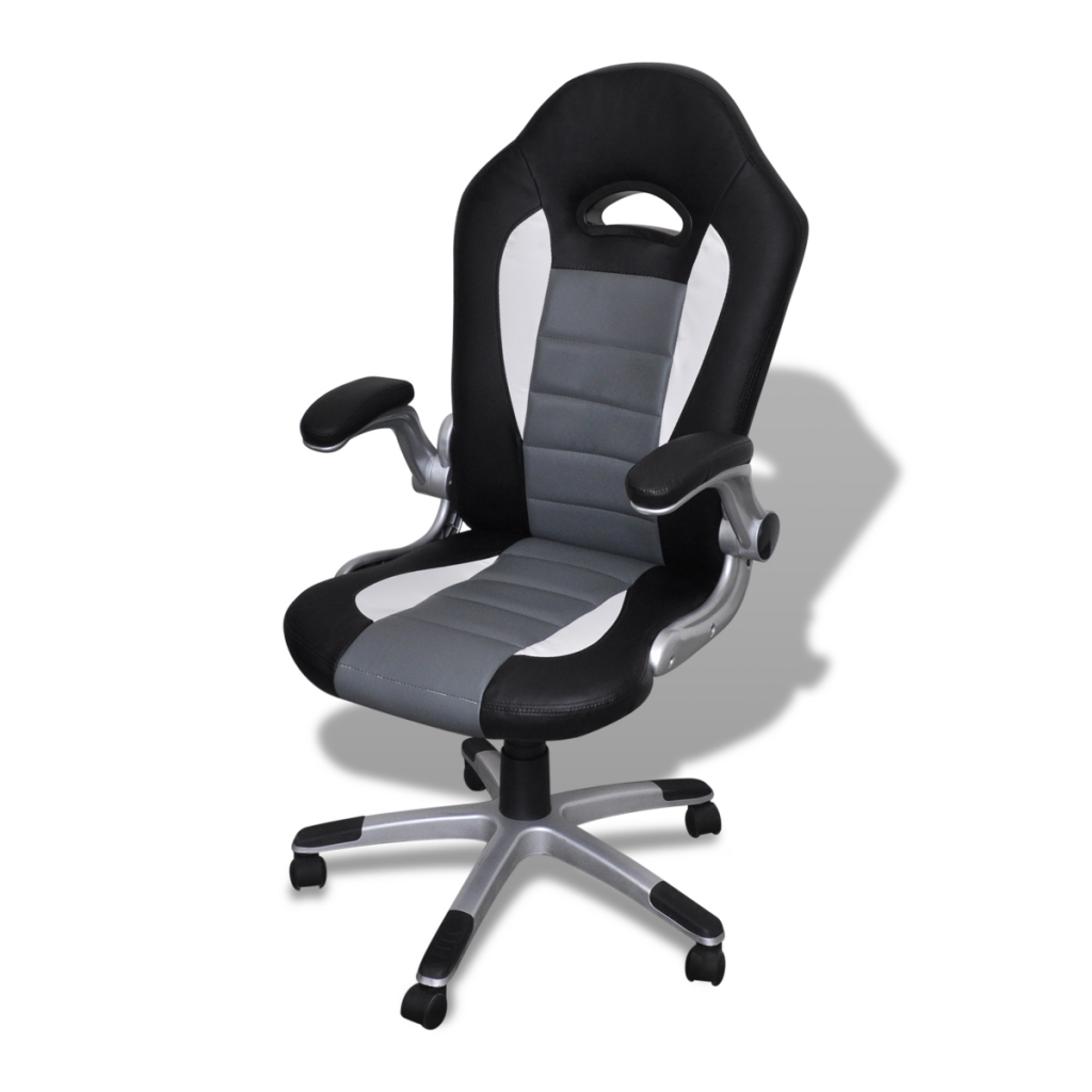 black Office Chair in Modern Design Gray Leather LovDockcom