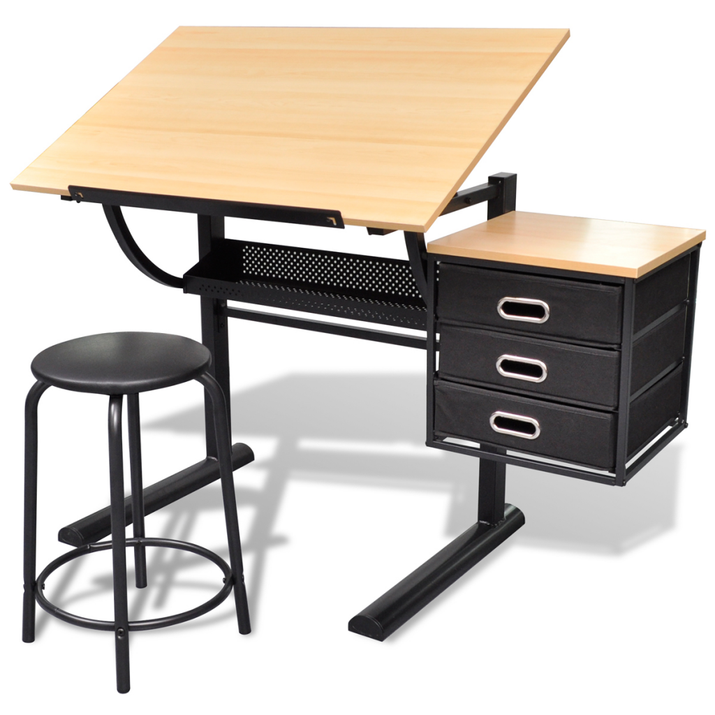 Tilting Desk With Two Drawers Drawing Table Stool