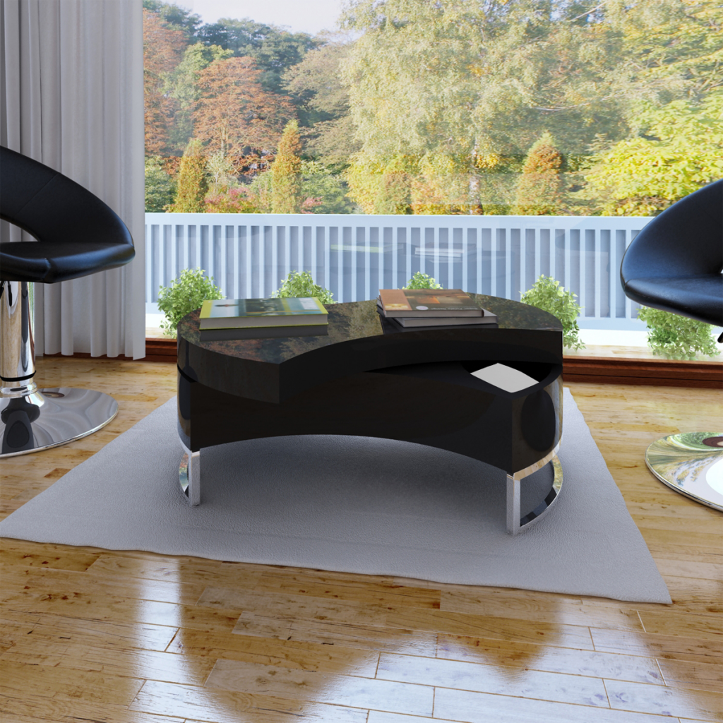Black Coffee Table Glossy Black Adjustable Shape LovDockcom - Glossy black coffee table