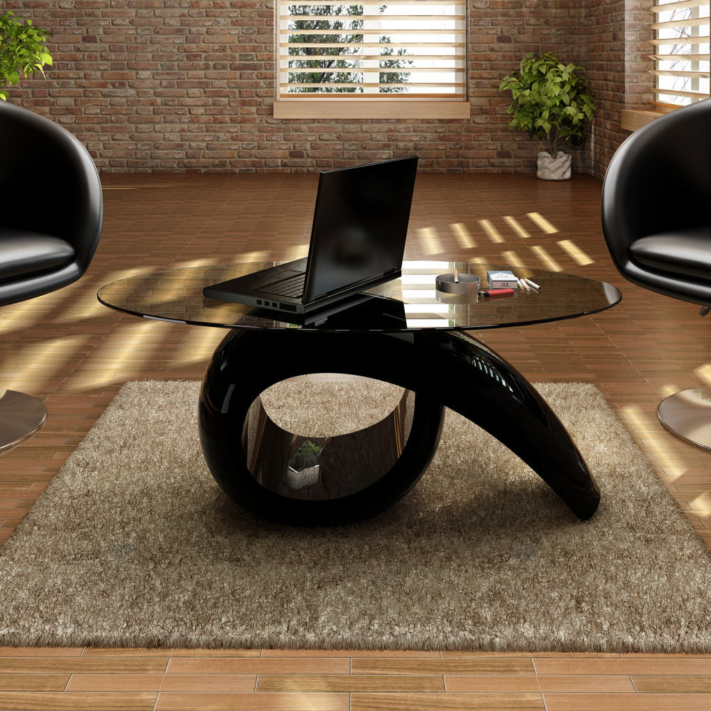 Black Coffee Table In Glossy Black With Tempered Glass Top LovDockcom - Glossy black coffee table