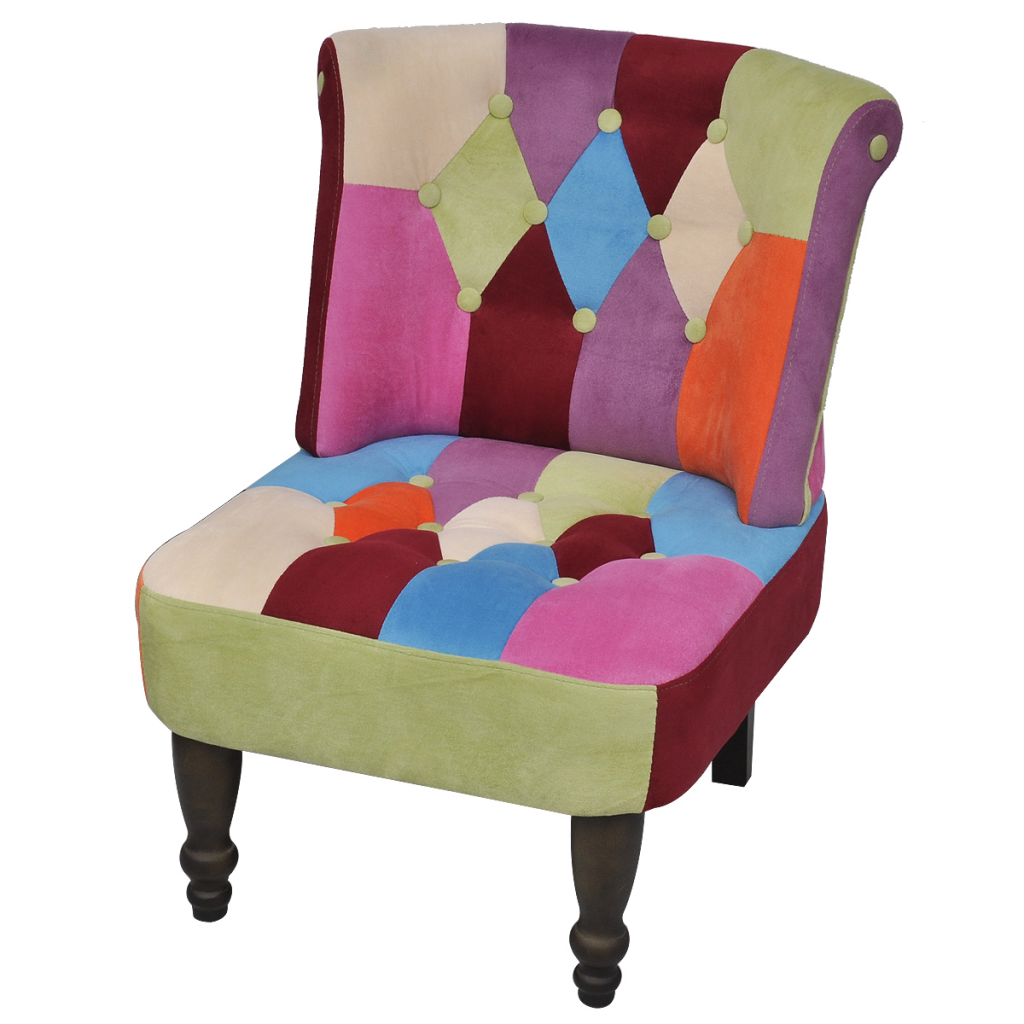 Multicolour French Chair Armless Patchwork Lovdock Com