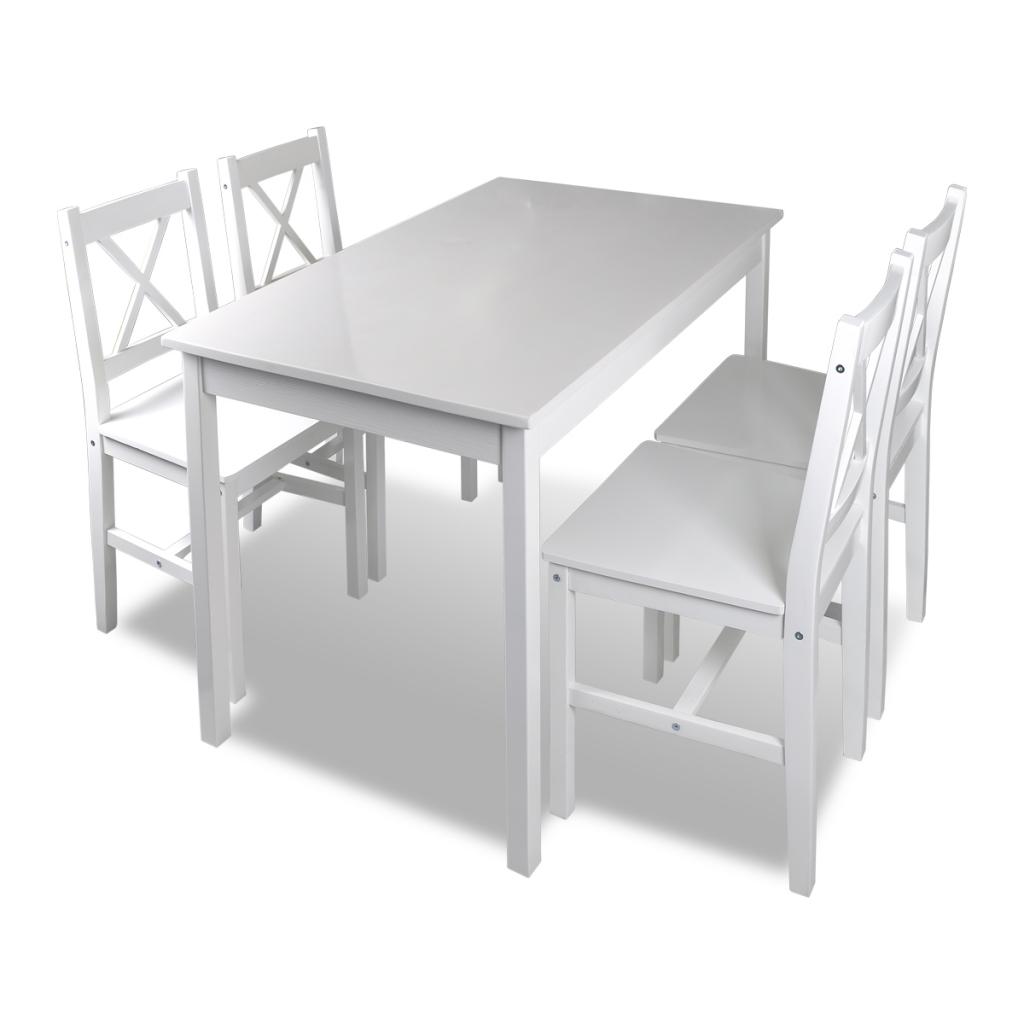 Table En Bois Avec 4 Chaises Meubles Set Blanc