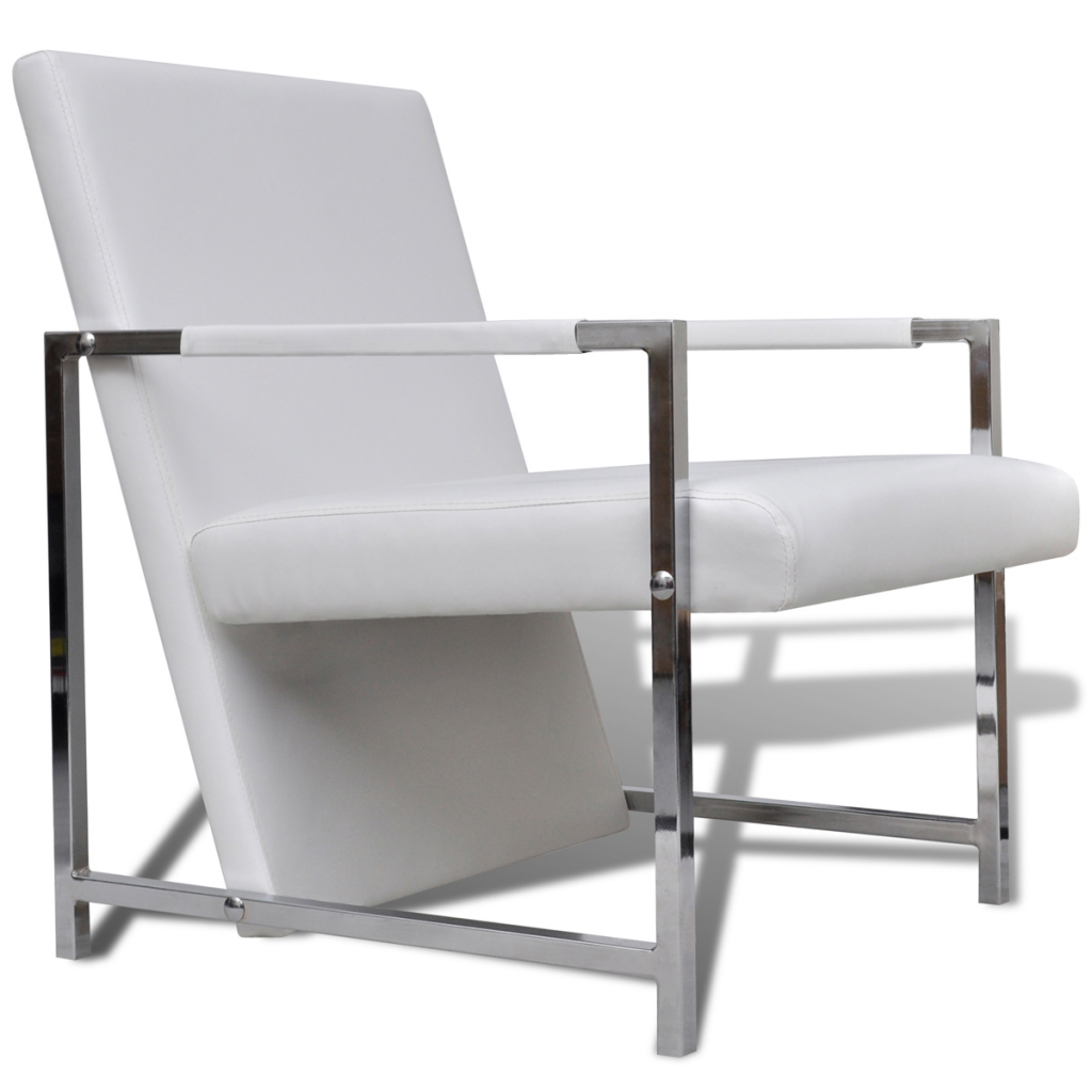 Relax Fauteuil Design.White Cube Relax Armchair White With Chrome Feet High Quality